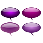 Selection of purple callout bubbles vector clip art