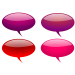 Red reflective speech bubbles selection vector illustration