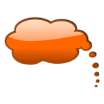 Orange thinking bubble vector illustration