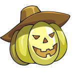 Vector image of cartoon Halloween pumpkin with hat