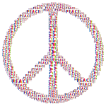 Spectrum Peace Sign Word Cloud No Background