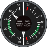 Vector drawing of manifold pressure and fuel flow airplane dashboard instruments