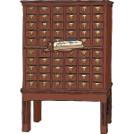 Vector graphics of wood library card catalog