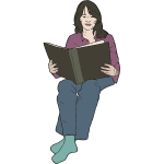 Vector image of woman reading