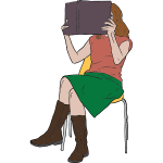 Vector clip art of woman reading a book on a chair