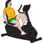 Vector graphics of woman exercising on recumbent exercise bike