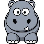 Vector graphics of happy cartoon hippo