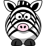 Vector image of cartoon zebra