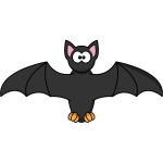 Cartoon bat with scary eyes vector illustration