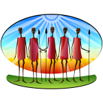 Stylized Masai people vector image