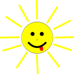 Smiling cartoon Sun vector clip art