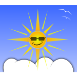 Sun and cloud vector illustration