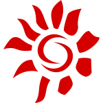 Vector graphics of artistic sun icon