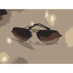 Sunglasses on table vector image