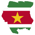 Suriname's map and flag