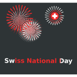 Swiss National Day fireworks sign vector clip art