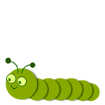 Smiling green caterpillar