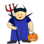 Vector image of boy with pitchfork and pumpkin