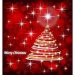 Merry Christmas in red and silver color vector drawing