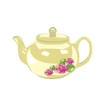 Vector graphics of shiny tea pot with rose decoration