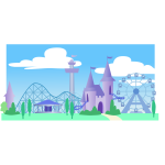 Theme park under a blue sky vector graphics