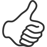 Thumb up symbol with left hand