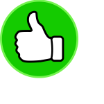 Vector clip art of thumbs up in a green circle