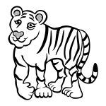 Drawing of friendly tiger in black and white