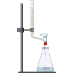 Clip art of oxygen titration process with a beaker