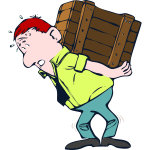 Vector image of man with heavy package on his back