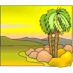 Tropical tree color illustration