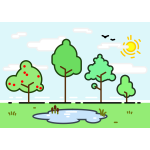 Vector clip art of different trees