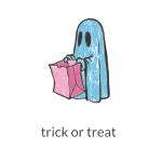Ghost with pink paper bag vector image
