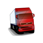 Vector clip art of red truck on the road