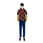 Vector clip art of trendy guy in t- shirt with kanji pattern