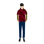 Vector drawing of trendy guy in t- shirt with plum pattern