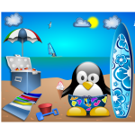 Penguin on sandy beach vector image