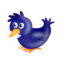 Image of twitter bird carrying a letter in its beak