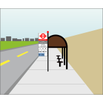 Bus stop sign in UK vector illustration