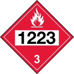 Vector illustration of red sign with UN 1223 code for kerosene