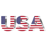 USA Flag Typography Chrome No Background