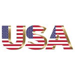 USA Flag Typography Copper No Background