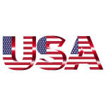 USA Flag Typography Crimson No Background