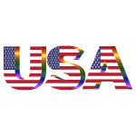 USA Flag Typography Prismatic No Background