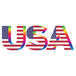 USA Flag Typography Rainbow No Background