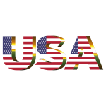 USA Flag Typography Sun Glare No Background