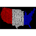 USA Word Cloud Red White Blue