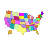 Vector image of map of American states