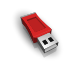 3D vector drawing of red USB stick