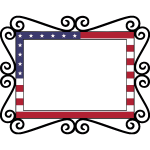Vintage frame with American flag